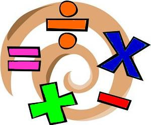 Math swirls of addition, subtraction, multiplication, division and equal symbols